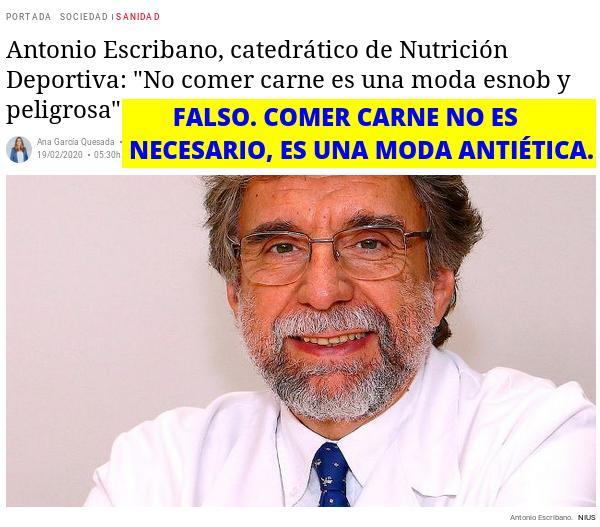 Antonio Escribano, la carne No es necesaria para una buena salud