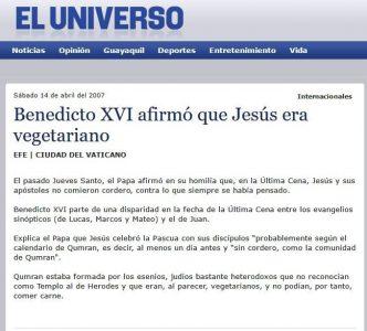 Benedicto dice que Jesus era vegetariano