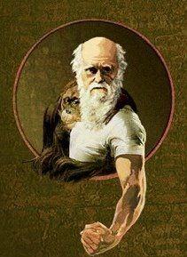 Charles Darwin y orangután