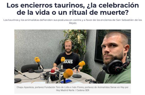 Iván Flores debate con Chapu Apaolaza sobre tauromaquia