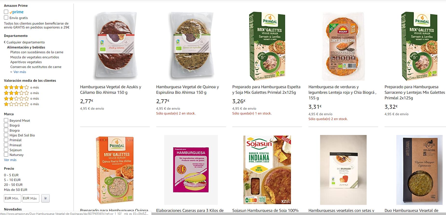 comprar hamburguesas vegetales Amazon