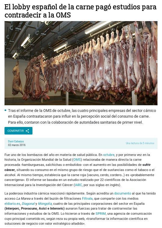 El mafioso lobby de la carne paga a científicos para que contradigan los estudios de la OMS sobre el cáncer