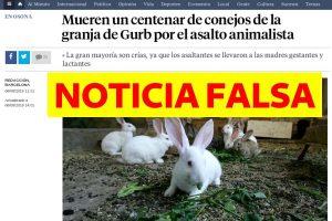 """NOTICIA FALSA: """"Mueren 100 conejos por culpa de animalistas"""""""