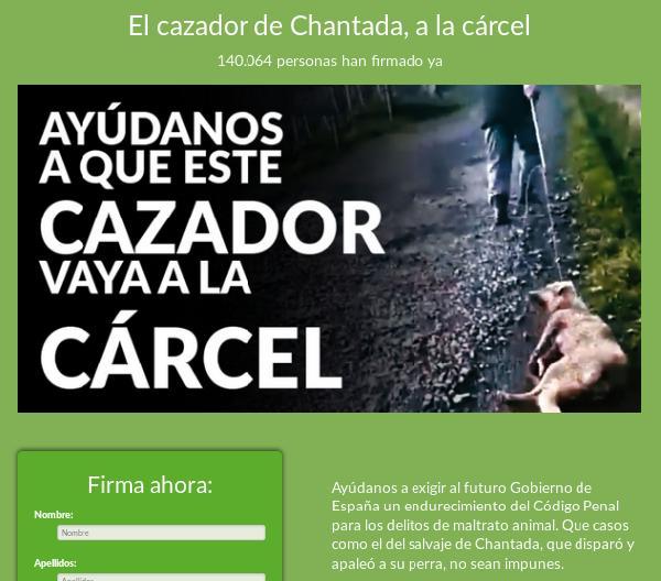 PACMA recoge firmas por el crimen de Chantada