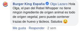 El pan de la Rebel Whopper es vegano
