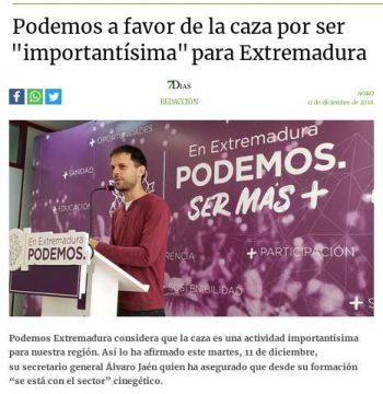 Podemos Extremadura defiende la caza