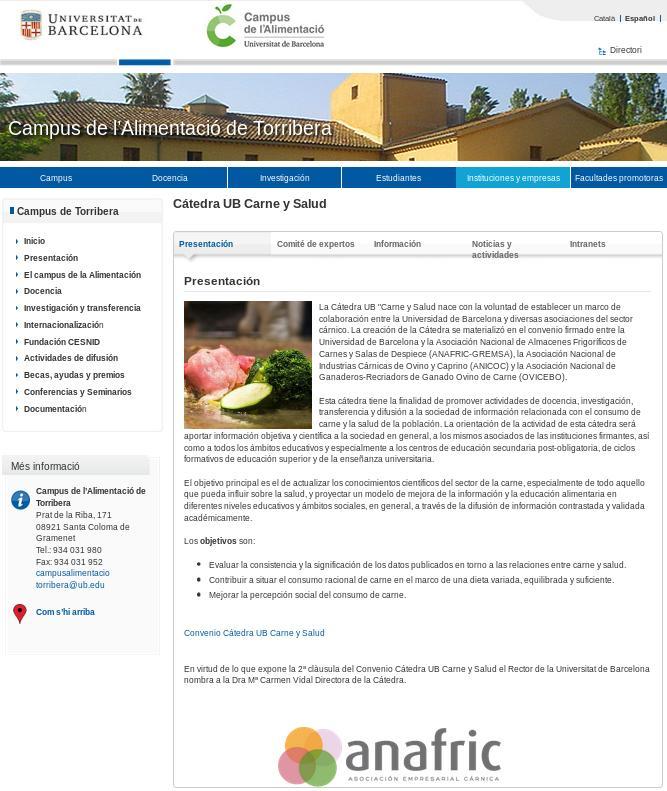 La Universidad de Barcelona ofrece una cátedra para fomentar el consumo de carne